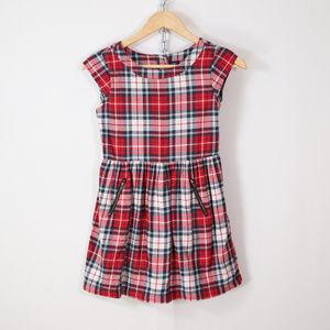 GAP kids plaid flannel dress size M red white blue
